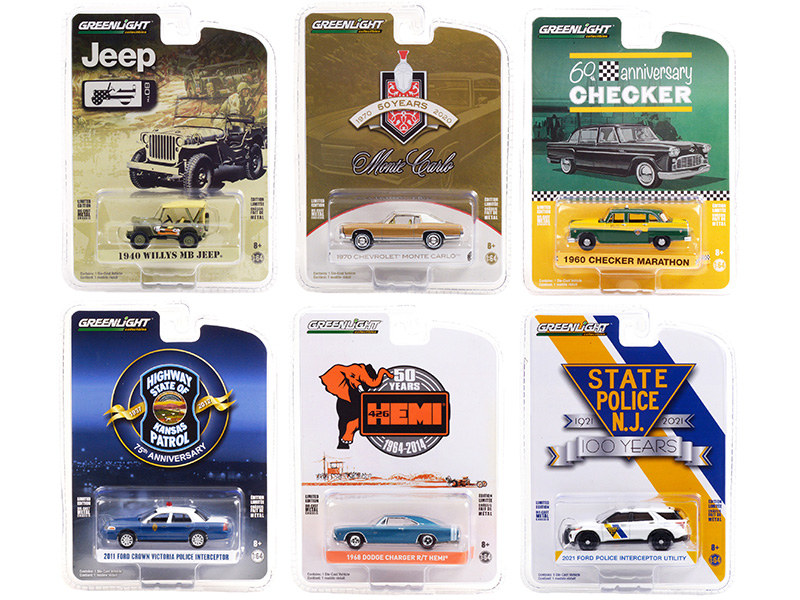 """""""Anniversary Collection"""" Set of 6 pieces Series 12 1/64 Diecast Model Cars by Greenlight"""