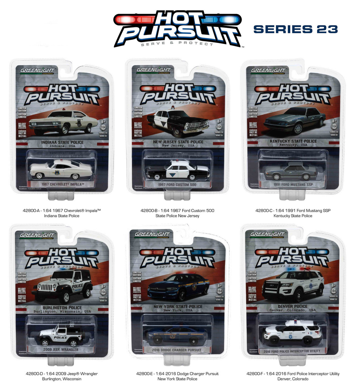 Hot Pursuit Series 23 6pc Diecast Car Set 1/64 Diecast Model Cars by Greenlight