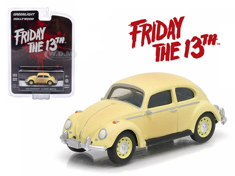 1963 Volkswagen Beetle Friday The 13th Part III (1982) Movie Hollywood Series 9 1/64 Diecast Model Car by Greenlight  44690D