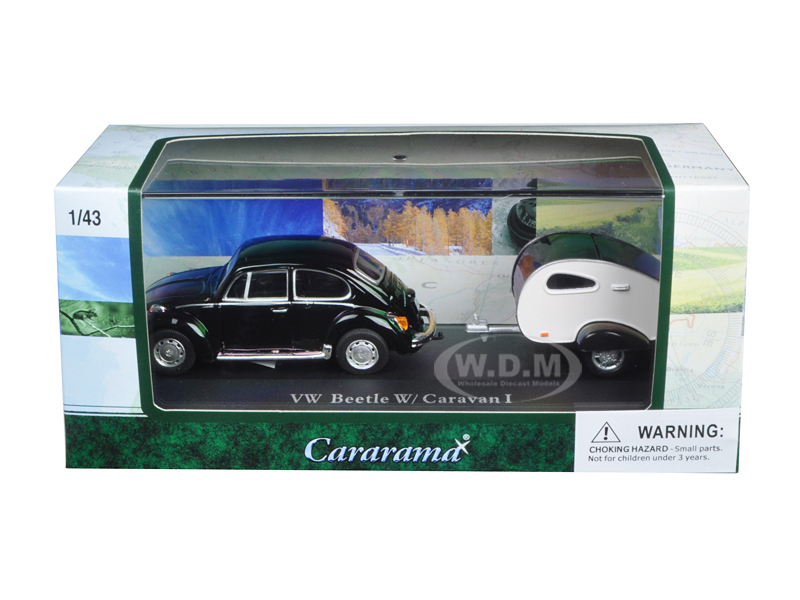 Volkswagen Beetle Black With Caravan I Trailer And Display Case 1/43 Diecast Car Model By Cararama