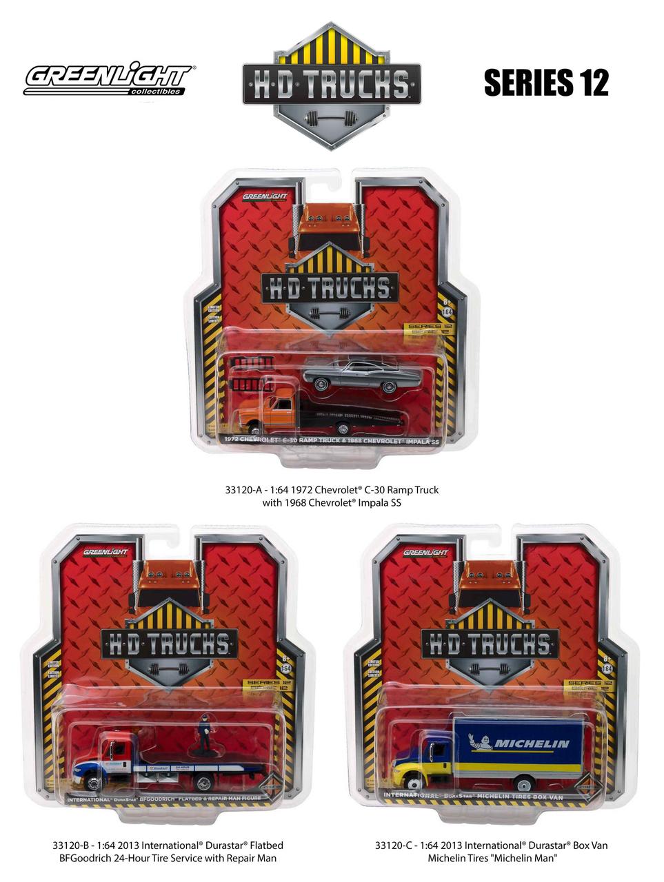 Heavy Duty Trucks Set of 3 HD Trucks Series 12 1/64 Diecast Models by Greenlight 33120-A-B-C