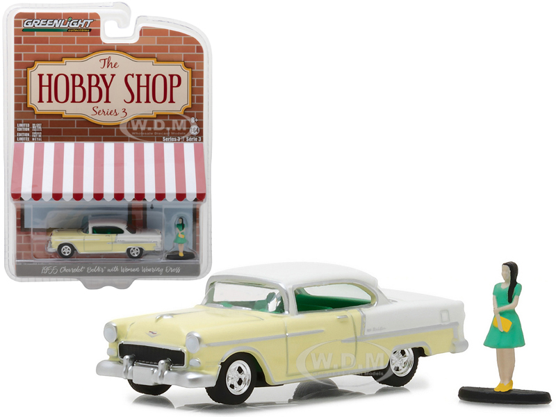 1955 Chevrolet Bel Air Yellow with Woman in Dress The Hobby Shop Series 3 1 64 Diecast Model Car by Greenlight