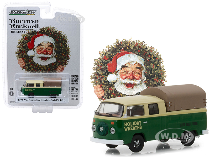 1978_Volkswagen_Double_Cab_Pickup_with_Canopy_Holiday_Wreaths_Green_and_Yellow_Norman_Rockwell_Delivery_Vehicles_Series_1_164_Diecast_Model_by_G