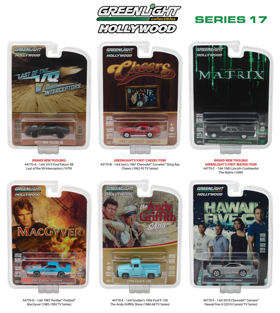 Hollywood Series / Release 17 6pc Diecast Car Set 1/64 Diecast Model Cars by Greenlight