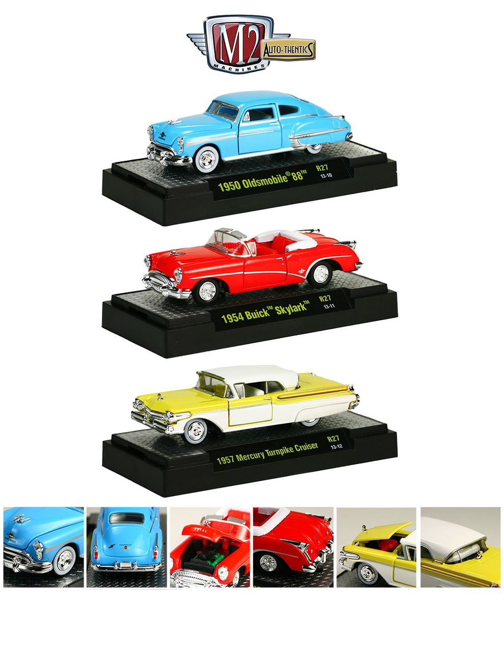 Auto Thentics 3 Cars Set Release 27 WITH CASES Diecast Models 1/64 by M2 Machines