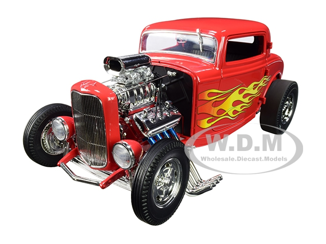 """1932 Ford Blown 3 Window Hot Rod """"flamethrower"""" Red With Flames Limited Edition To 522 Pieces Worldwide 1/18 Diecast Model Car By Acme"""