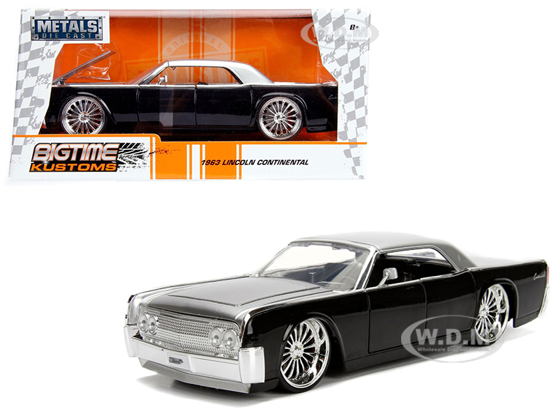 1963_Lincoln_Continental_Black_with_Silver_Top_124_Diecast_Model_Car_by_Jada