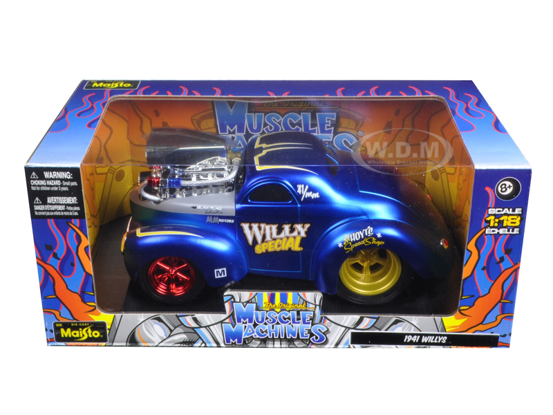 1941 Willys Coupe Blue Muscle Machines 1/18 Diecast Model Car By Maisto