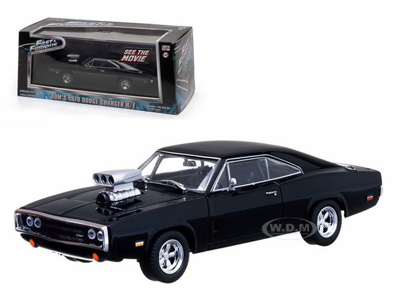 Doms 1970 Dodge Charger Black The Fast and The Furious Movie (2001) 1/43 Diecast Car Model by Greenlight GL86201