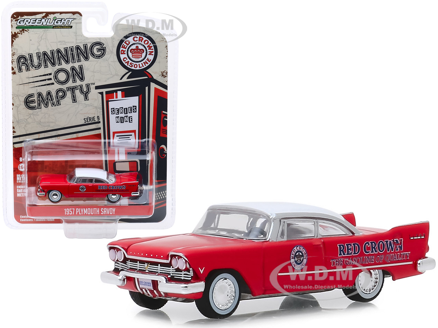 1957 Plymouth Savoy Red with White Top Red Crown Running on Empty Series 9 1/64 Diecast Model Car by Greenlight