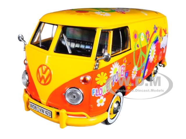 Volkswagen Type 2 (T1) Delivery Van Flower Power 1/24 Diecast Car Model by Motormax
