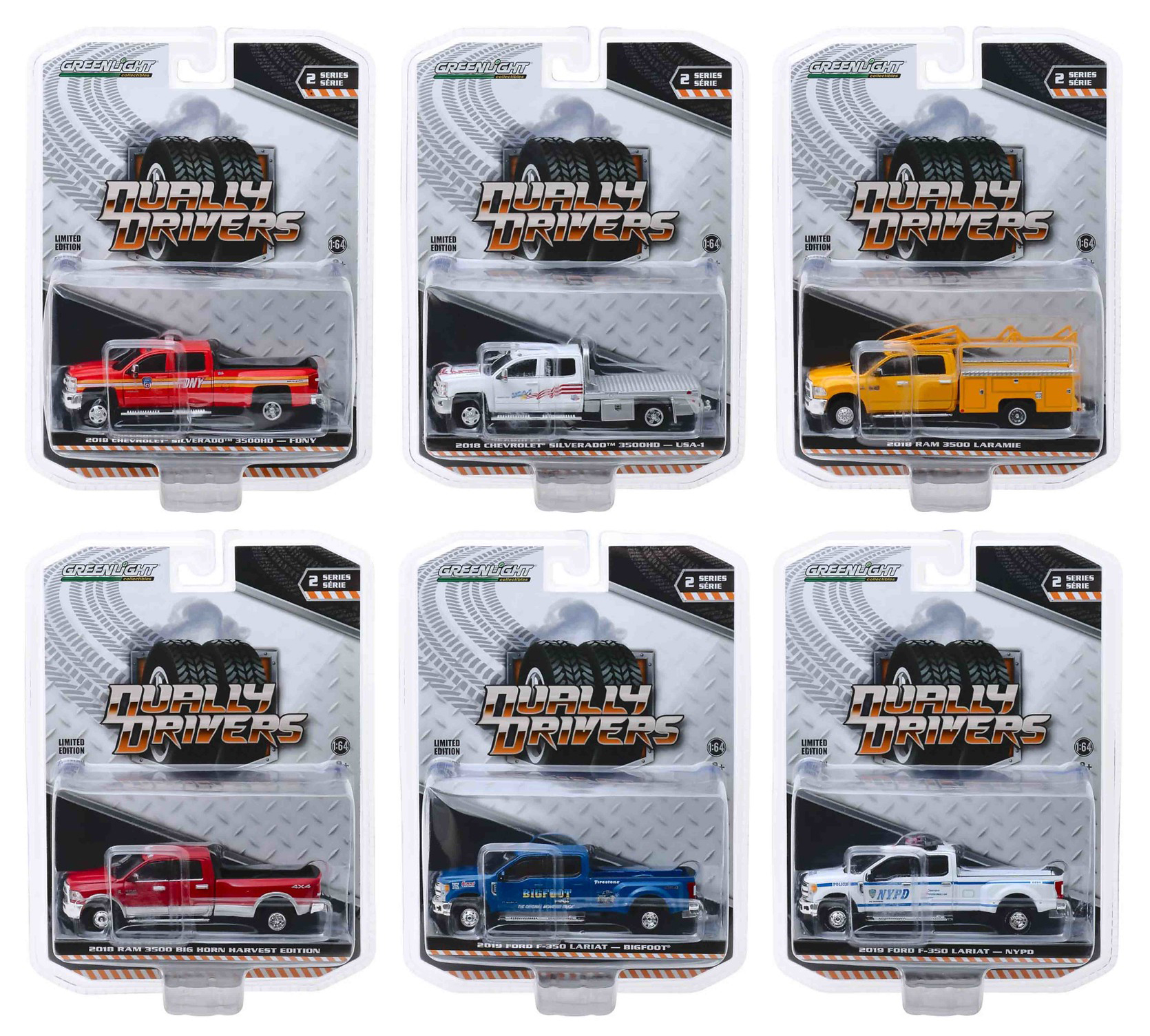 Dually Drivers Series 2 Set of 6 Trucks 1/64 Diecast Model Cars by Greenlight