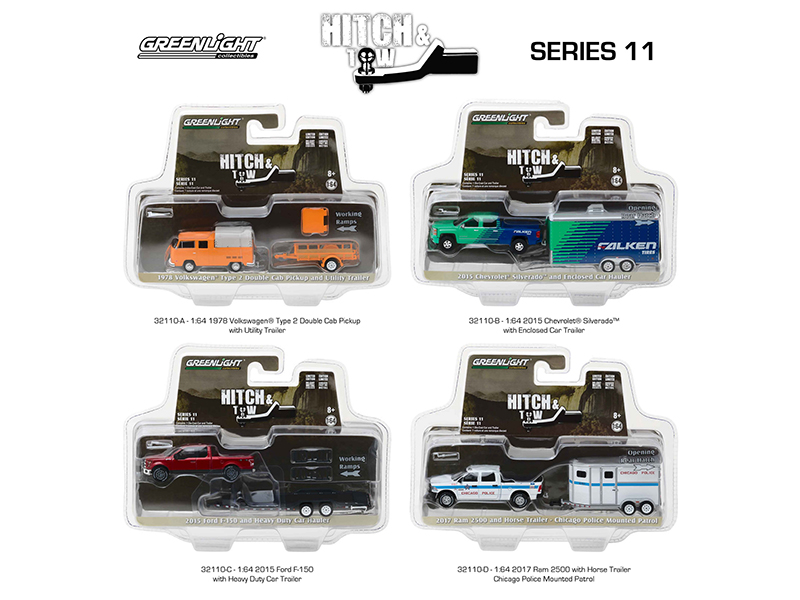 Hitch & Tow Series 11 Set of 4 1/64 Diecast Model Cars by Greenlight