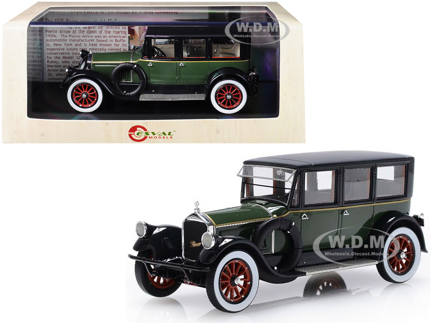 1920 Pierce Arrow Model 32 7-Seat Limousine Green and Black Limited Edition to 250 pieces Worldwide 1/43 Model Car by Esval Models - from $89.99