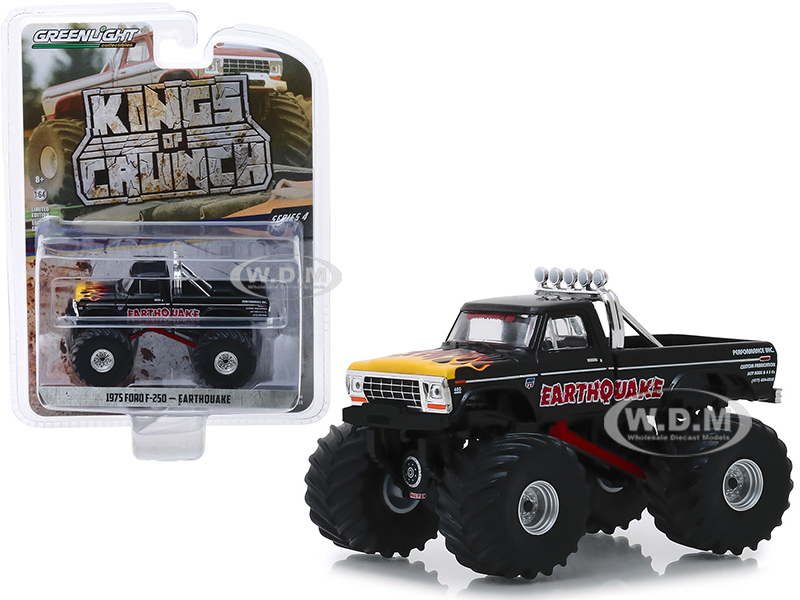 1975 Ford F-250 Monster Truck Earthquake Black with Flames Kings of Crunch Series 4 1/64 Diecast Model Car by Greenlight