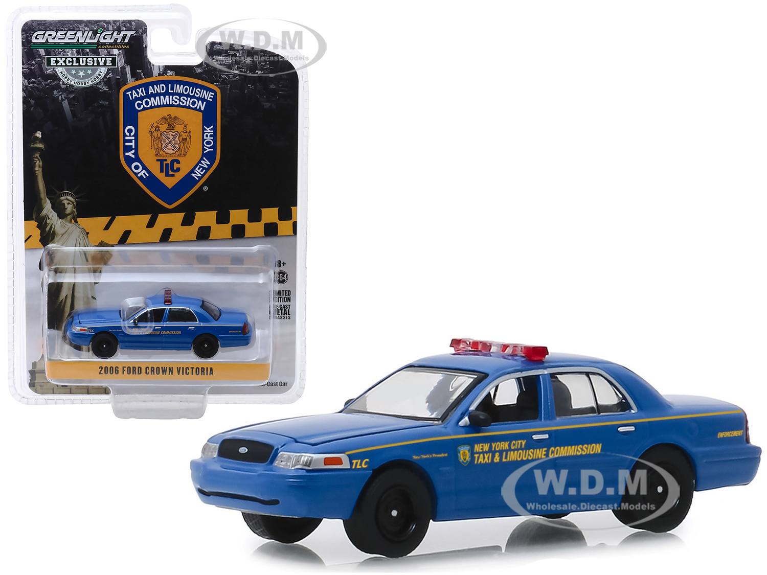 2006 Ford Crown Victoria New York City Taxi and Limousine Commission (TLC) Blue Hobby Exclusive 1/64 Diecast Model Car by Greenlight - from $6.19