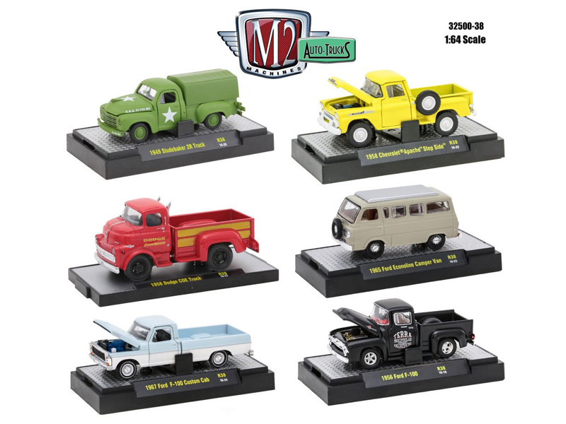 Auto Trucks 6 Piece Set Release 38 IN DISPLAY CASES 1/64 Diecast Model Cars by M2 Machines