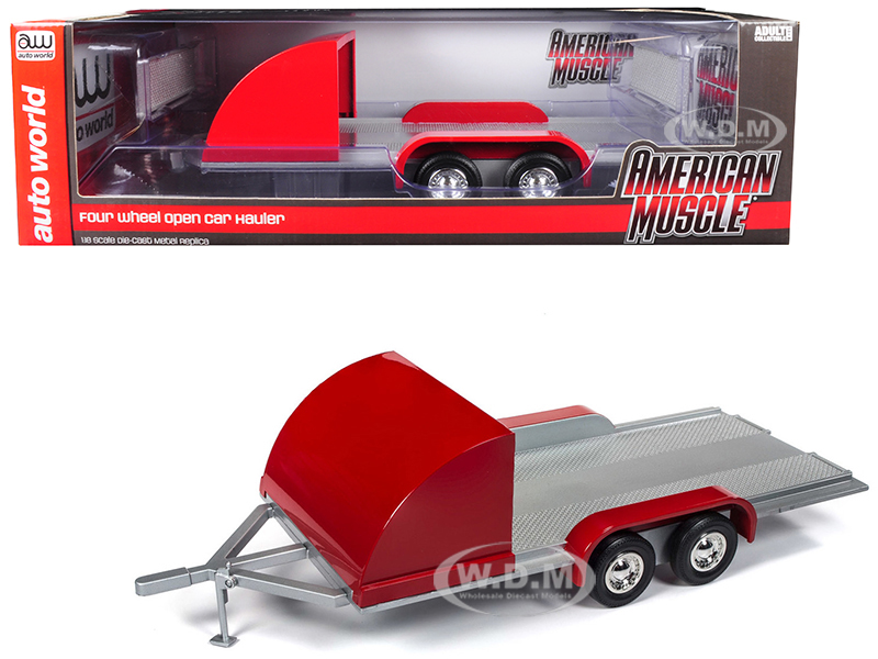 Four Wheel Open Car Hauler Trailer Red for 1/18 Scale Models by Autoworld