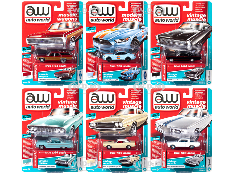 Autoworld Muscle Cars Premium 2019 Release 3 Set A of 6 Cars 1/64 Diecast Models by Autoworld