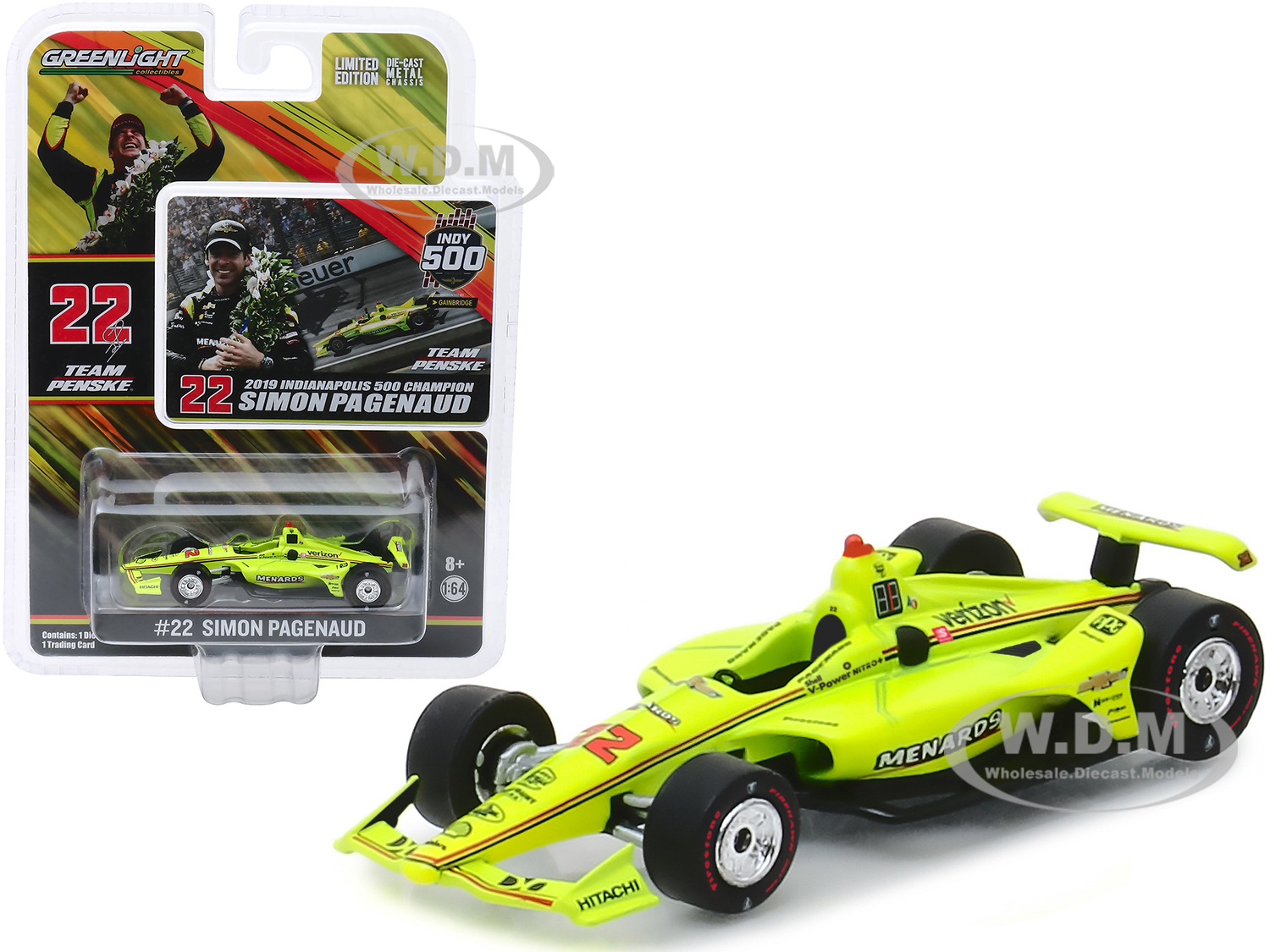 Dallara Indy Car #22 Simon Pagenaud Menards Team Penske Indianapolis 500 Champion (2019) 1/64 Diecast Model Car by Greenlight - from $8.99