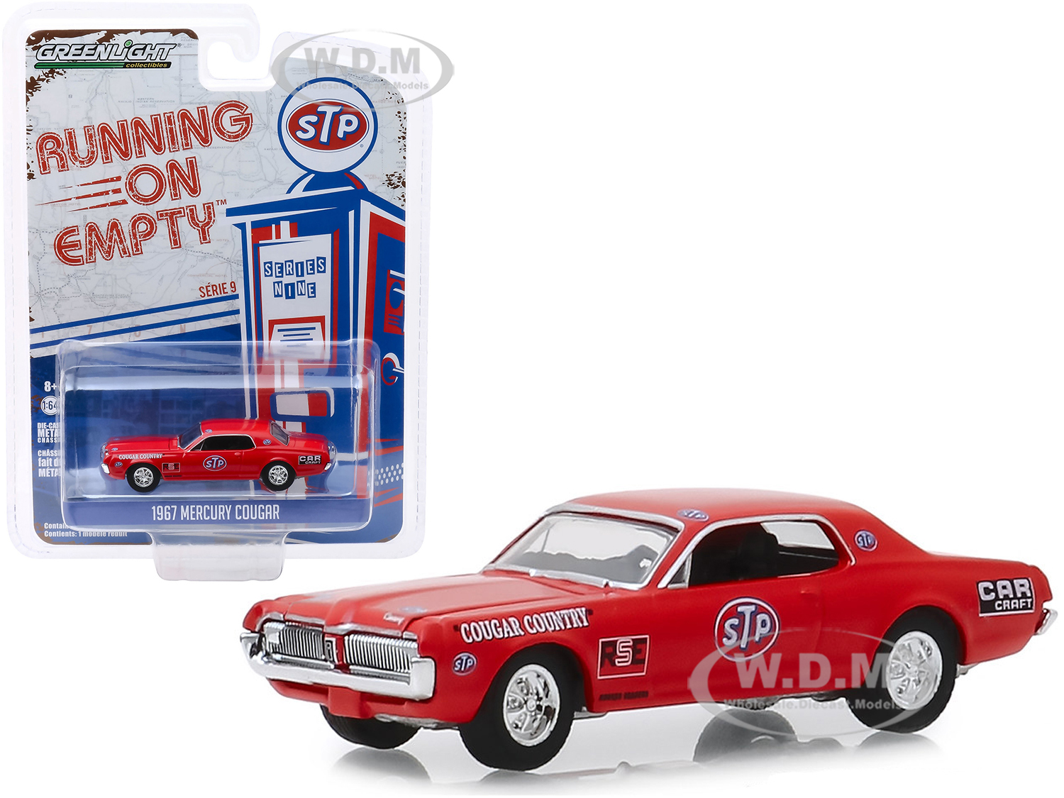 1967 Mercury Cougar Red STP Cougar Country Running on Empty Series 9 1/64 Diecast Model Car by Greenlight