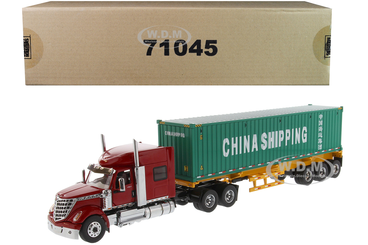 International LoneStar Sleeper Cab Red with Skeleton Trailer and 40 Dry Goods Sea Container China Shipping Green Transport Series 1/50 Diecast Model by Diecast Masters