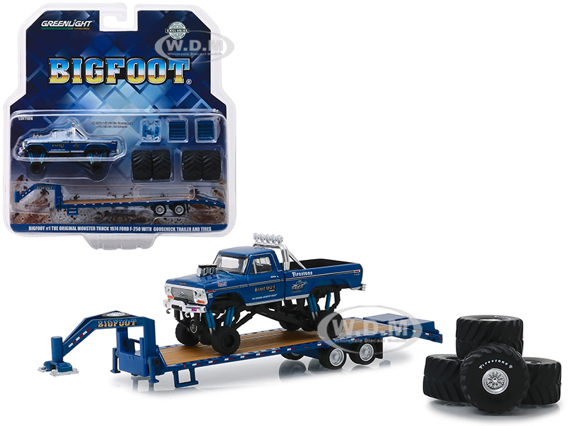 1974 Ford F-250 Monster Truck Bigfoot #1 The Original Monster Truck (1979) with Gooseneck Trailer and Regular and Replacement 66 Tires Hobby Exclusive 1/64 Diecast Model Car by Greenlight - from $13.49