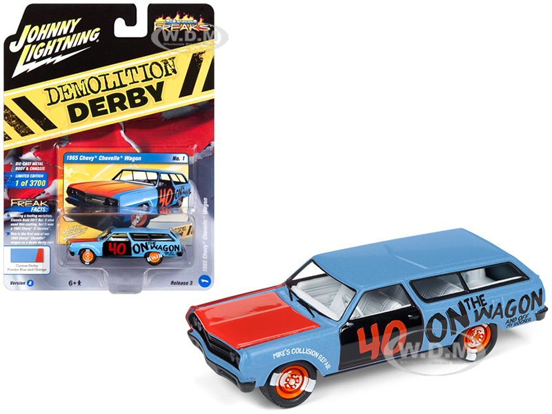 1965 Chevrolet Chevelle Wagon #40 Powder Blue Demolition Derby Limited Edition to 3700 pieces Worldwide 1/64 Diecast Model Car by Johnny Lightning