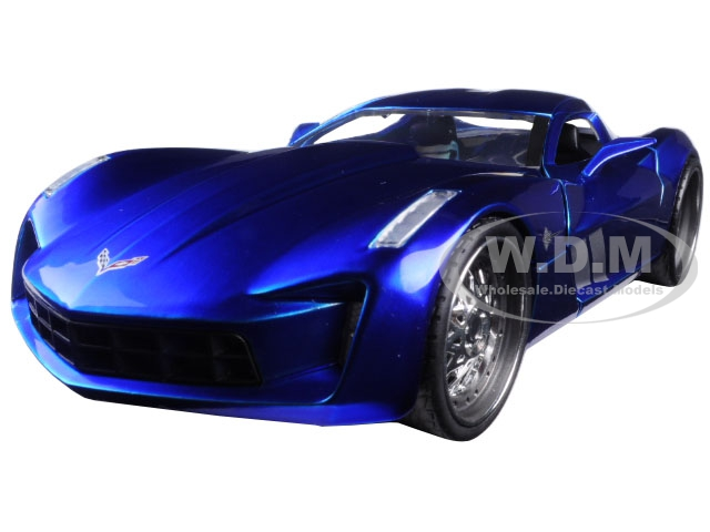 2009 Chevrolet Corvette Stingray Concept Blue 1/24 Diecast Model Car by Jada