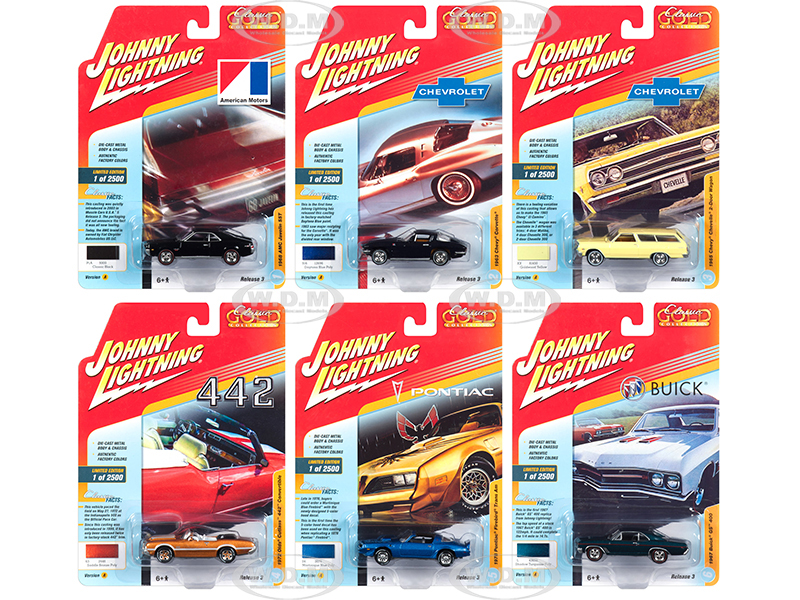 Classic Gold 2018 Release 3 Set A of 6 Cars 1/64 Diecast Models by Johnny Lightning