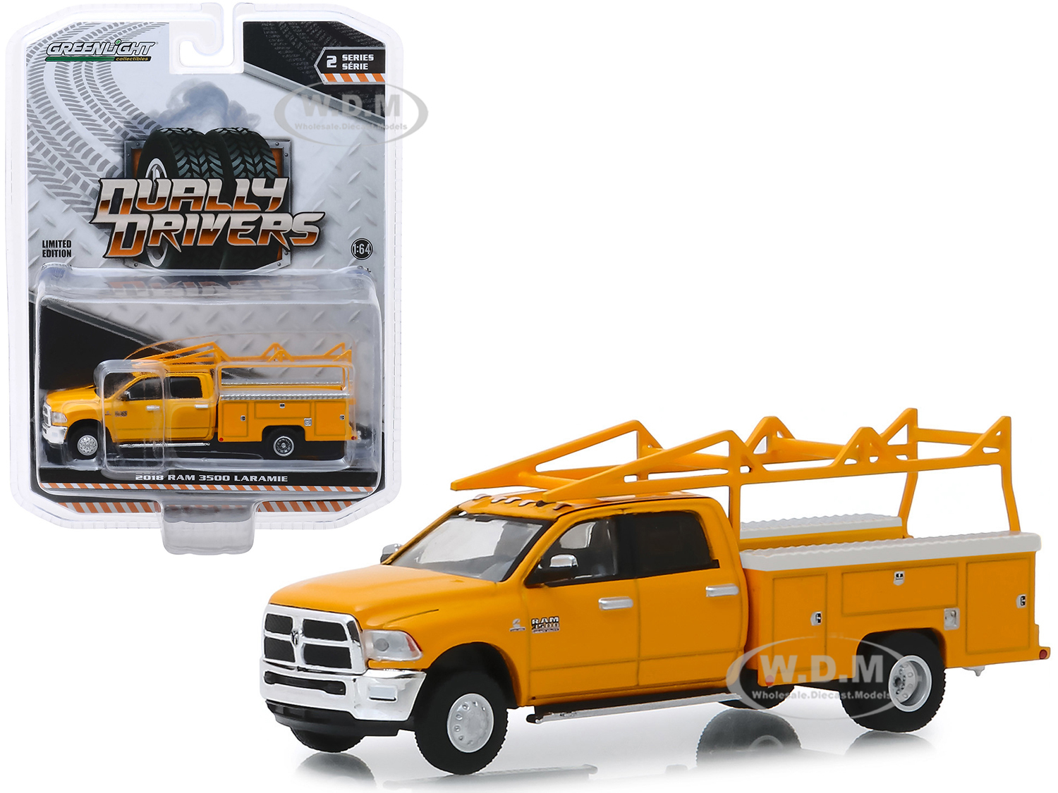 2018 Dodge Ram 3500 Laramie Service Bed Truck with Ladder Rack Yellow Dually Drivers Series 2 1/64 Diecast Model Car by Greenlight
