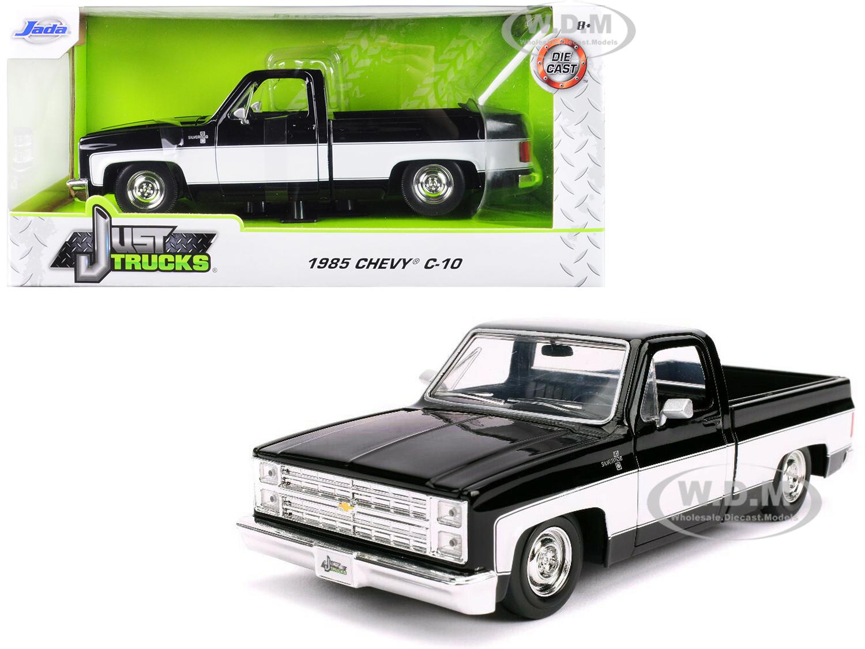 1985 Chevrolet Silverado C-10 Pickup Truck Stock Wheels Black and White Just Trucks 1/24 Diecast Model Car by Jada