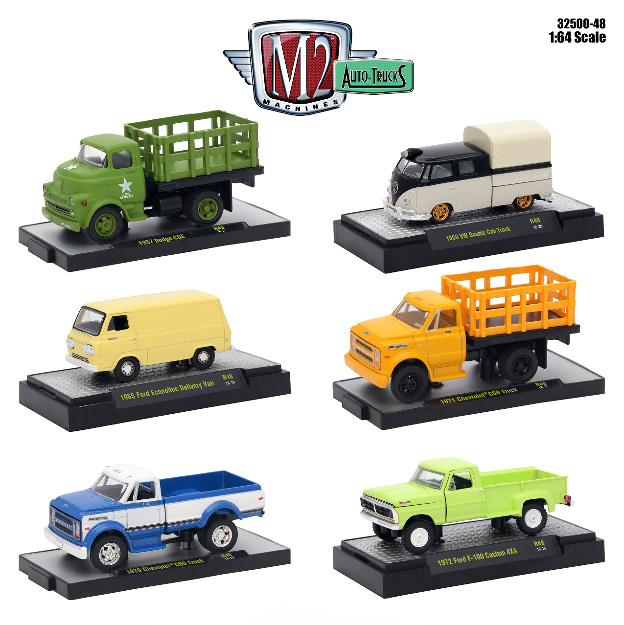 Auto Trucks 6 Piece Set Release 48 IN DISPLAY CASES 1/64 Diecast Model Cars by M2 Machines