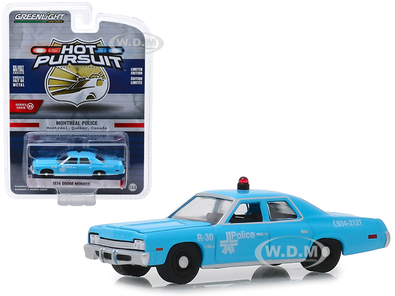 1974 Dodge Monaco Montreal Canada Police Light Blue Hot Pursuit Series 32 1/64 Diecast Model Car by Greenlight