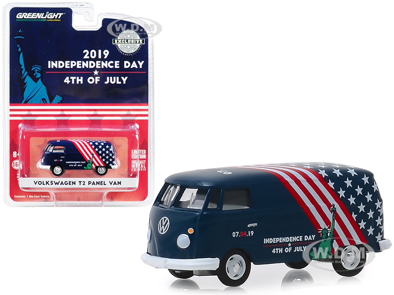 Volkswagen T2 Panel Van 4th of July Independence Day 2019 Hobby Exclusive 1/64 Diecast Model by Greenlight