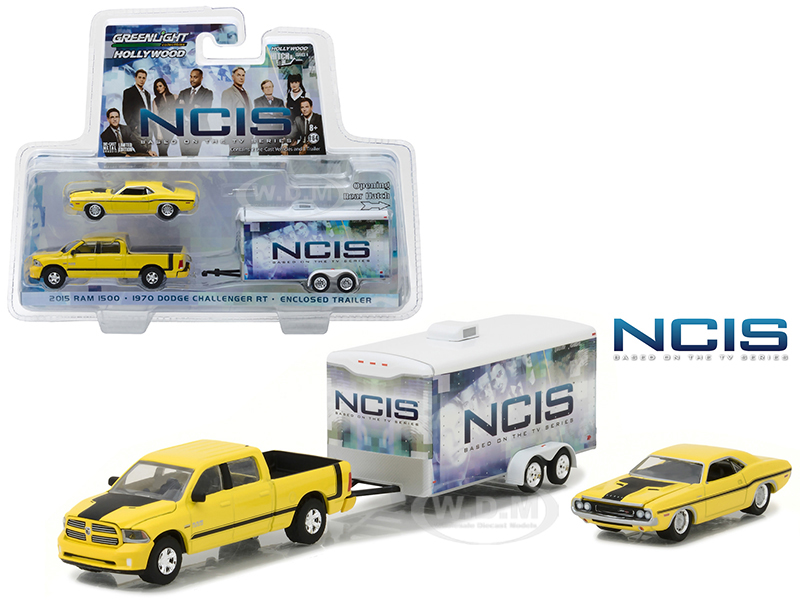 2015 Dodge Ram 1500 Pickup Yellow with 1970 Dodge Challenger R/T Yellow with Enclosed Car Trailer which has Opening Rear Hatch NCIS (2003-Current TV Series) Hollywood Hitch and Tow Series 4 1/64 Diecast Model by Greenlight