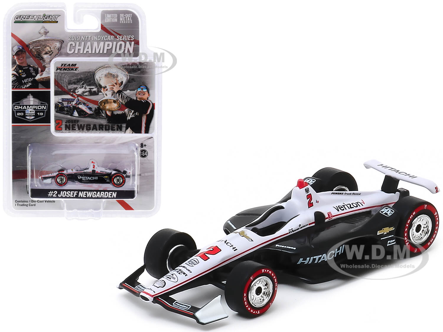 Dallara Indy Car #2 Josef Newgarden Hitachi Team Penske NTT IndyCar Series Champion (2019) 1/64 Diecast Model Car by Greenlight