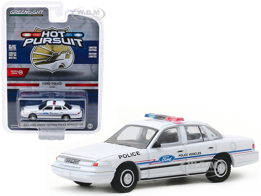 1993 Ford Crown Victoria Police Interceptor Ford Police Vehicles Show Car White Hot Pursuit Series 33 1/64 Diecast Model Car by Greenlight