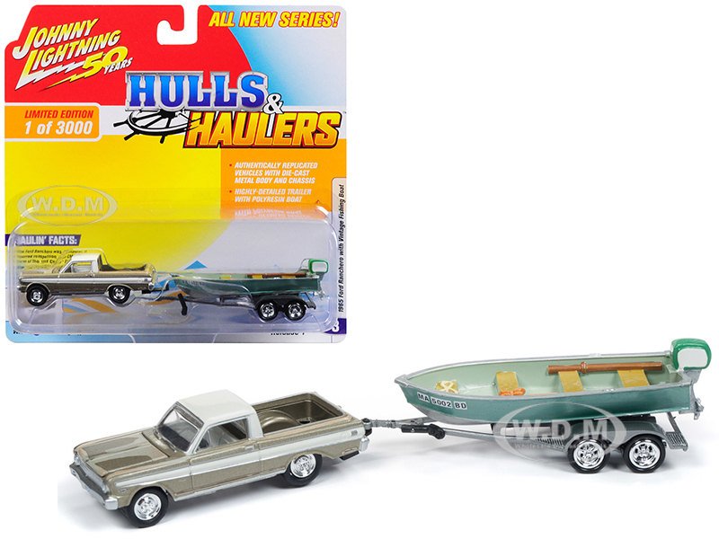 1965 Ford Ranchero Honey Gold with Cream Top (Weathered) with Vintage Fishing Boat Limited Edition to 3000 pieces Worldwide Hulls & Haulers Series 1 1/64 Diecast Model Car by Johnny Lightning
