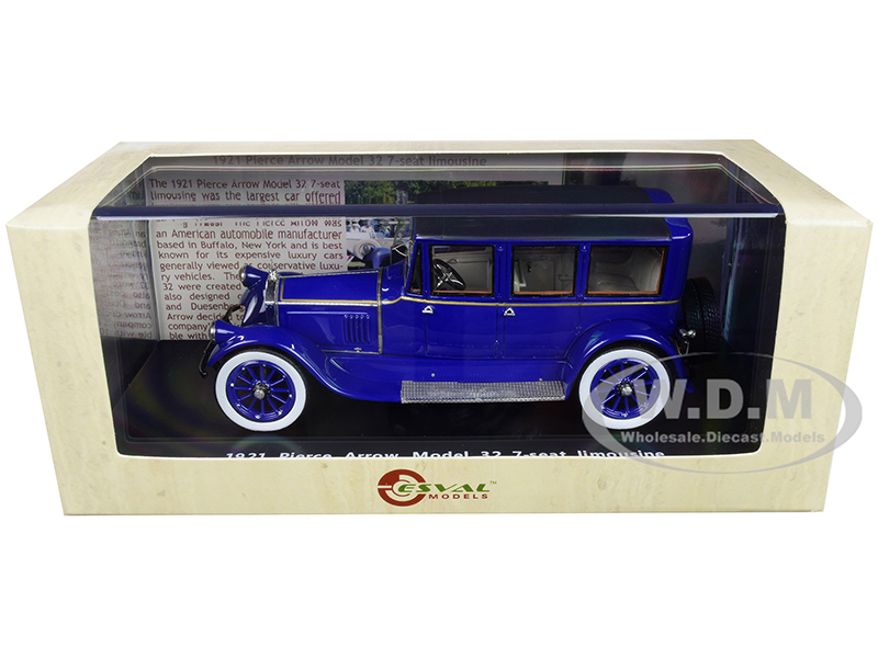 1921 Pierce Arrow Model 32 7-Seat Limousine Dark Blue Limited Edition to 250 pieces Worldwide 1/43 Model Car by Esval Models