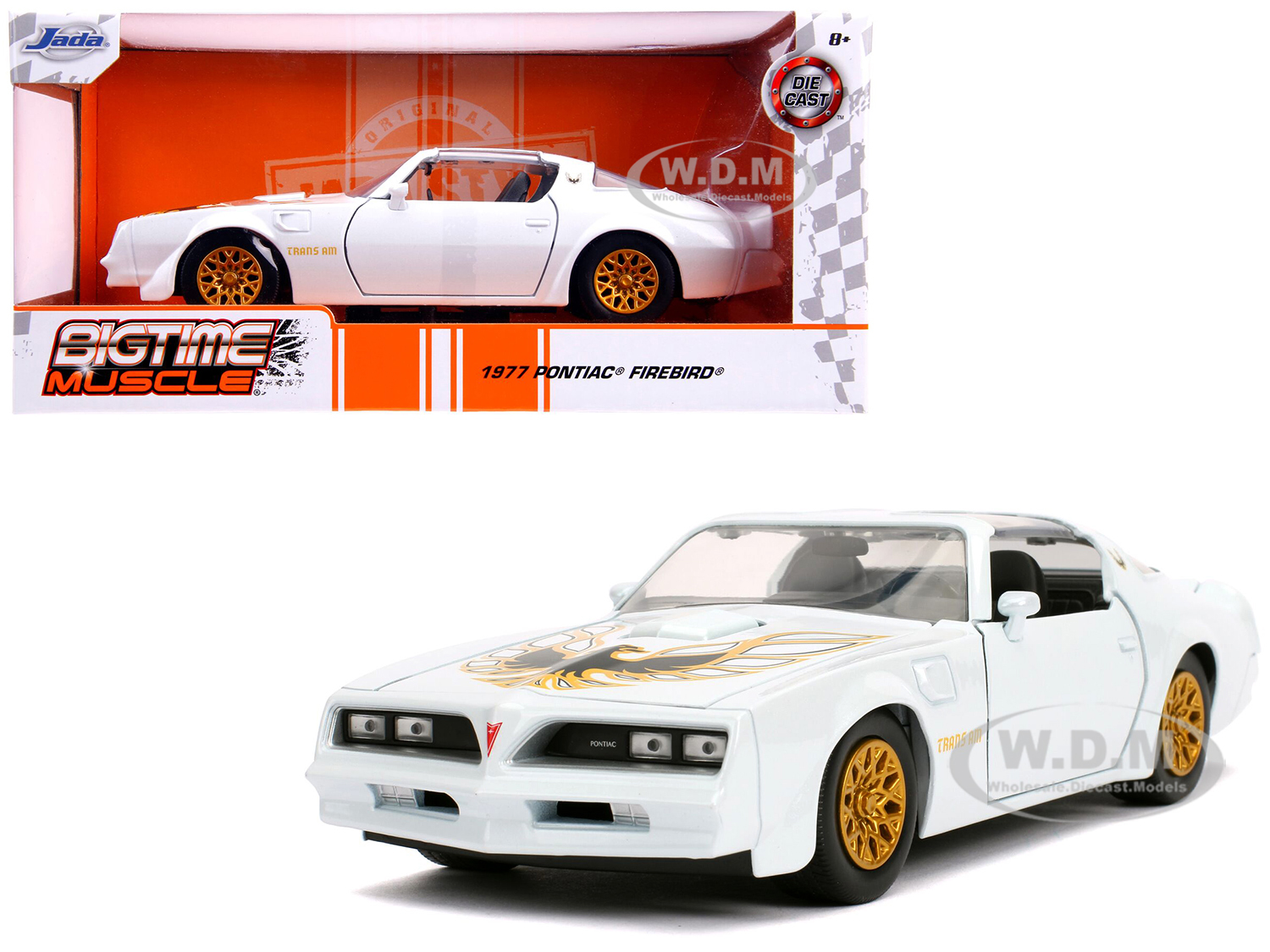 1977 Pontiac Firebird Trans Am Pearl White with Gold Wheels Bigtime Muscle 1/24 Diecast Model Car by Jada - from $15.99