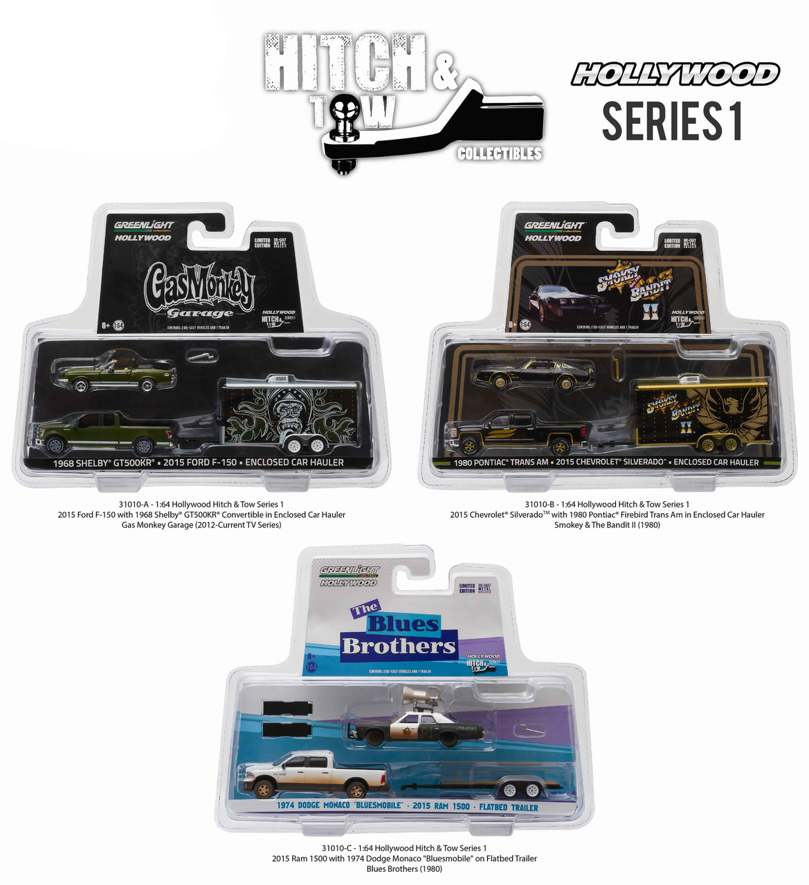 Hollywood Hitch & Tow Series 1 Set of 3 pieces 1/64 Diecast Model Cars by Greenlight