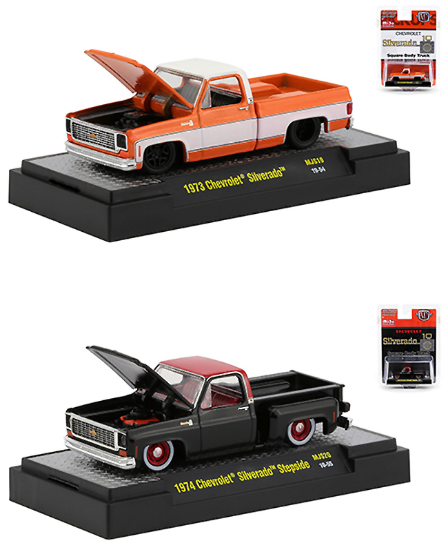 1973 Chevrolet Silverado Square Body Metallic Orange and 1974 Chevrolet Silverado Stepside Square Body Black Set of 2 Pickup Trucks Limited Edition to 3600 pieces Worldwide 1/64 Diecast Model Cars by M2 Machines - from $39.99