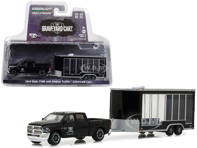 2016 Dodge Ram 2500 and Display Trailer Black Graveyard Carz 2012 TV Series Hitch & Tow Series 13 1/64 Diecast Model Car by Greenlight