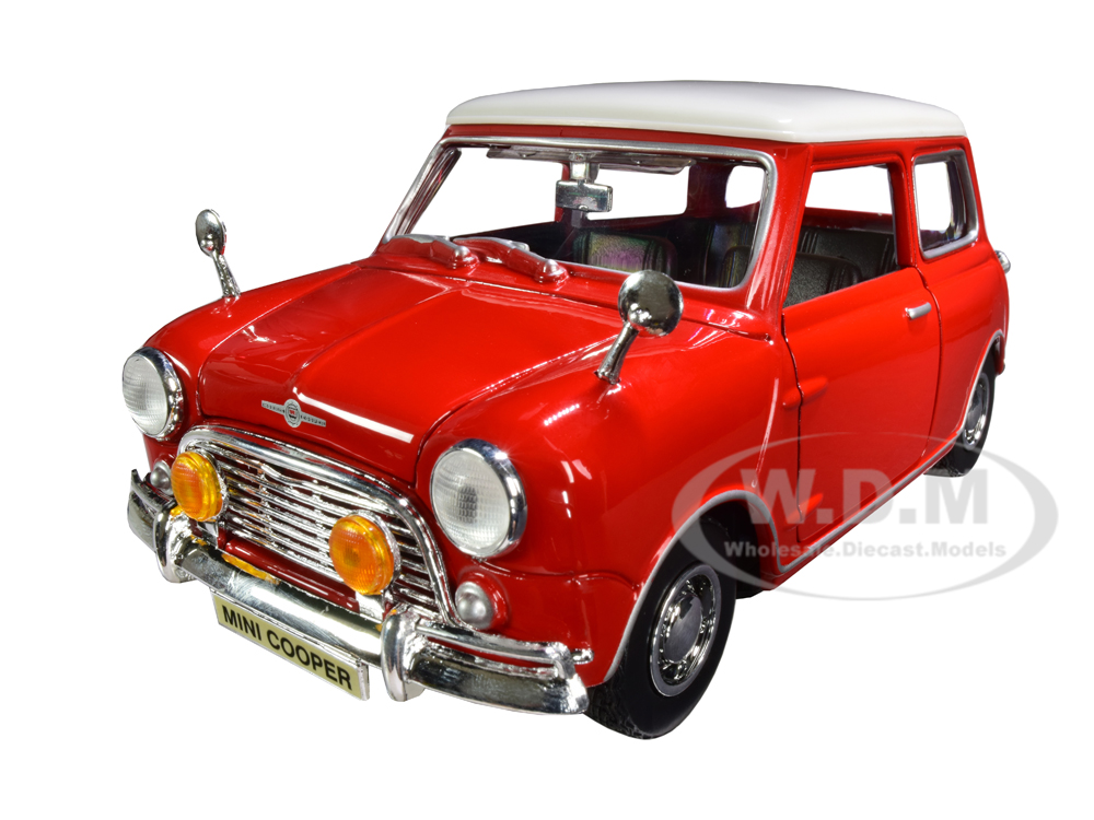 1961-1967-morris-mini-cooper-red-with-white-top-timeless-legends-118-diecast-model-car-by-motormax