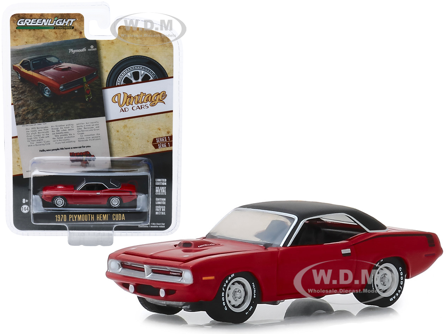 1970 Plymouth HEMI Barracuda Red with Black Top Hello New People. We Have A New Car For You Vintage Ad Cars Series 1 1/64 Diecast Model Car by Greenlight